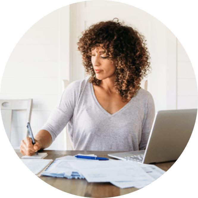 Woman taking notes image