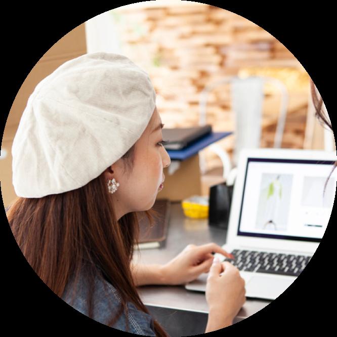 Womann using laptop image