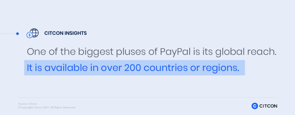 Citcon Insights: One of the biggest pluses of PayPal is its global reach. It is available in over 200 countries or regions.