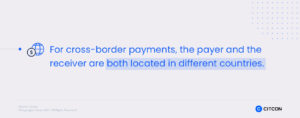 For cross-border payments, the payer and the receiver are both located in different countries.