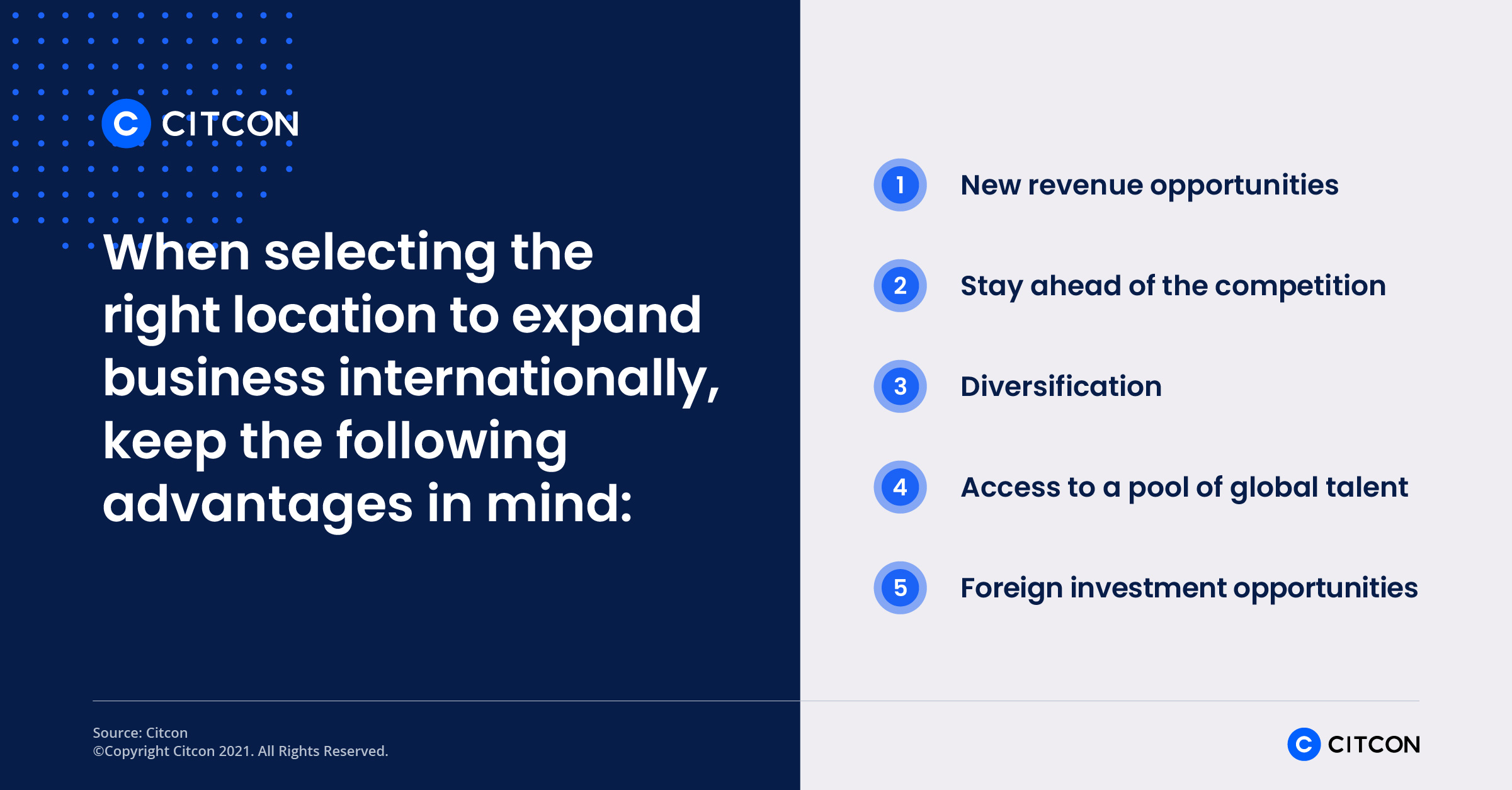 When selecting the right location to expand business internationally, keep these five advantages in mind.